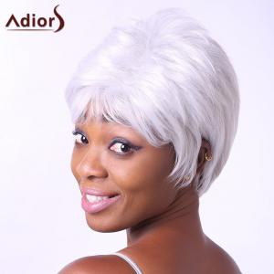 Fashion Short Side Bang Synthetic Fluffy Wavy Silvery White Capless Wig For Elder Women - SILVER WHITE