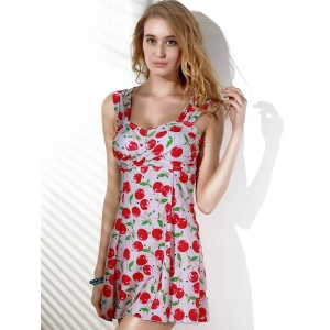 Fashionable Cherry Print Slimming Two-Piece Women's Swimsuit -
