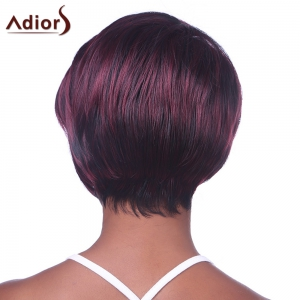 Fashion Side Bang Wine Red Highlight Charming Short Straight Synthetic Capless Wig For Women -