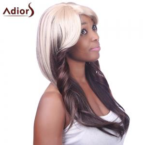 Charming Sexy Side Bang Heat-Resistant Fibre Long Wavy Synthetic Capless Women's Ombre Wig - COLORMIX