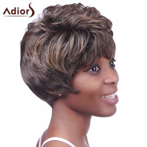 Ultrashort Curly Hairstyle Full Bang Heat Resistant Deep Brown Towheaded Women's Capless Wig - COLORMIX