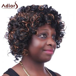 Fashion Fluffy Brown Highlight Sparkling Short Afro Curly Synthetic Capless Wig For Women - COLORMIX