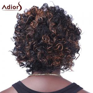 Fashion Fluffy Brown Highlight Sparkling Short Afro Curly Synthetic Capless Wig For Women -