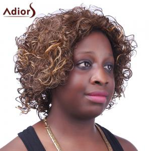 Fashion Fluffy Side Bang Brown Mixed Spiffy Short Afro Curly Synthetic Capless Wig For Women -