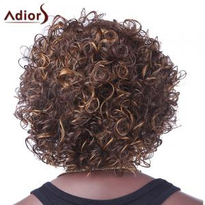 Fashion Fluffy Side Bang Brown Mixed Spiffy Short Afro Curly Synthetic Capless Wig For Women - COLORMIX