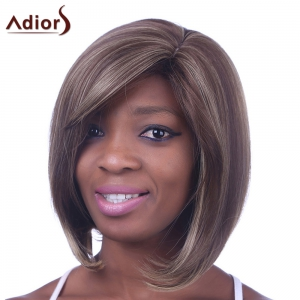 Fashion Bob Hairstyle Side Bang Medium Straight Mixed Color Kanekalon Capless Women's Synthetic Wig