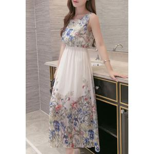 Floral Printed Chiffon Maxi Cocktail Dress - White - M