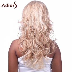 Charming Sexy Side Bang Fluffy Long Big Curly Black BT Golden Synthetic Women's Capless Wig -