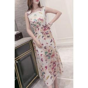 Sweet Scoop Neck Butterfly Print Women's Dress