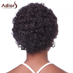 Fashion Fluffy Brown Charming Ultrashort Kinky Curly Synthetic Capless Wig For Black Women - RED MIXED BLACK