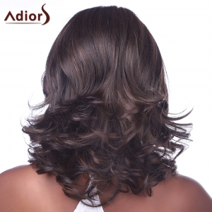 Fashion Fluffy Side Bang Mixed Color Charming Long Wavy Synthetic Capless Wig For Women -