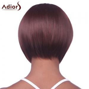 Stylish Sexy Hairstyle Full Bang Fluffy Wine Red Short Straight Capless Synthetic Women's Bob Wig -