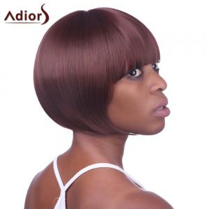 Stylish Sexy Hairstyle Full Bang Fluffy Wine Red Short Straight Capless Synthetic Women's Bob Wig - COLORMIX