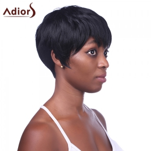 Fashion Black Short Straight Side Bang Heat Resistant Synthetic Wig For Women -