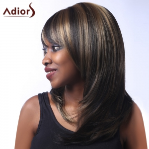 Top Quality Multi-Layered Natural Straight Mixed Color Side Bang Synthetic Women's Long Wig -