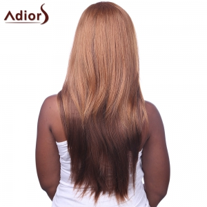 Fashion Side Bang Gold Brown to Deep Brown Ombre Charming Long Straight Capless Wig For Women -