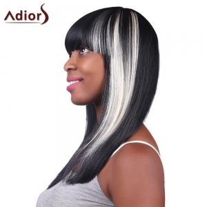 Prevailing Long Silky Straight Capless Stylish Neat Bang Synthetic White Highlight Wig For Women -