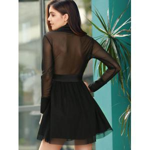 Trendy Plunging Neck Long Sleeve See-Through Pure Color Women's Dress -