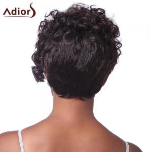 Spiffy Short Haircut Stunning Capless Fluffy Curly Brown Highlight Synthetic Wig For Women - RED MIXED BLACK