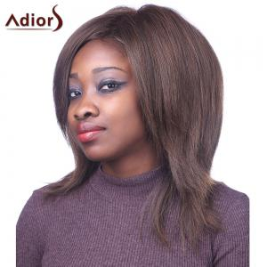 Bouffant Straight Synthetic Fashion Brown Mixed Outstanding Centre Parting Capless Wig For Women - COLORMIX