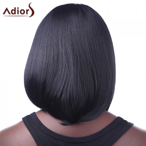 Fashion Medium Synthetic Brown Highlight Straight Bob Style Centre Parting Women's Wig -