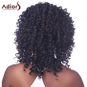 Shaggy Afro Curly Capless Trendy Short Black Brown Mixed Synthetic Wig For Women - BLACK/BROWN