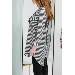 Vertical Striped Asymmetric Shirt -