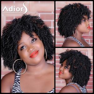 Shaggy Afro Curly Synthetic Stylish Medium Deep Brown Capless Wig For Women
