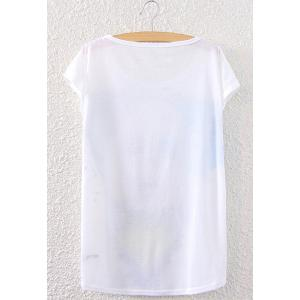 Fashionable Short Sleeve Beauty Pattern Women's T-Shirt -