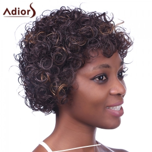 Charming Light Brown Mixed Synthetic Fluffy Kinky Curly Short Capless Wig For Women -