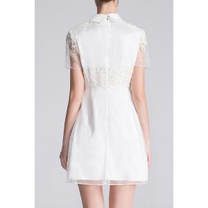 Flat Collar Embroidered A Line Dress -