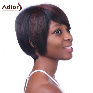 Spiffy Short Side Bang Synthetic Vogue Brown Highlight Straight Wig For Women -