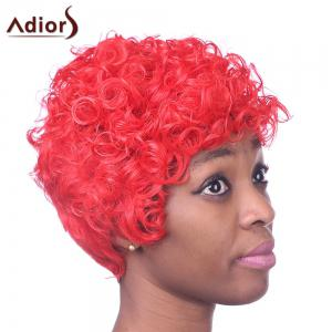 Fashion Short Red Capless Fluffy Curly Inclined Bang Heat Resistant Fiber Wig For Women - RED