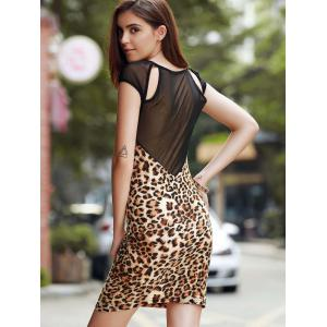 Chic Round Collar Leopard Print Cut Out Voile Spliced Women's Dress -