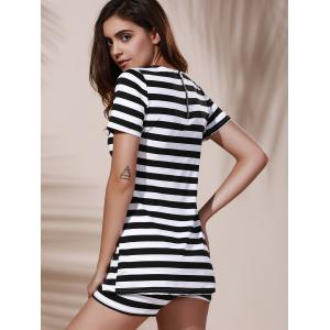 Chic Round Neck Asymmetrical Crop Top + Elastic Waist Striped Shorts Women's Twinset -