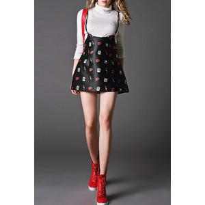 High Waist Print Suspender Skirt -