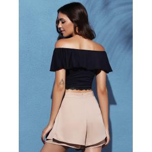 Short Sleeve Off The Shoulder Lace Splicing Crop Top -