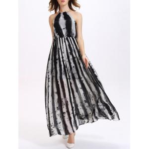 Long Chiffon Tie Dye Pleated Dress - Black - Xl
