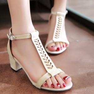 Stylish T-Strap and Chunky Heel Design Sandals For Women - Off-white 39 cheap buy authentic best sale sale online sale latest looking for cheap online DFRgY