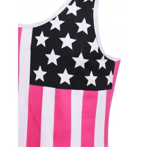 Fashion Round Neck American Flag Print Hit Color Tank Top For Men - RED M