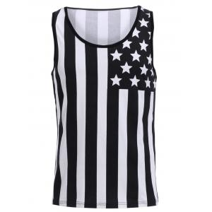 Fashion Round Neck American Flag Print Hit Color Tank Top For Men