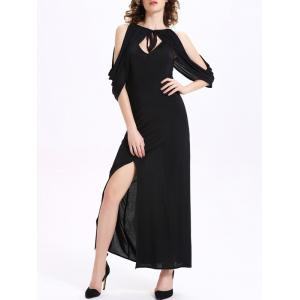 Maxi Cold Shoulder Draped High Slit Cocktail Dress