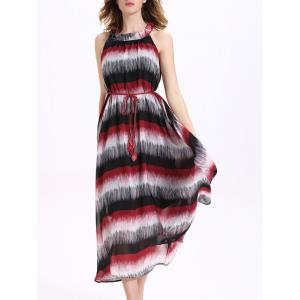 Stripe Long Chiffon Swing Beach Dress