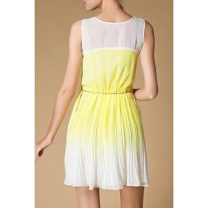 Scoop Neck Ombre Pleated Dress -