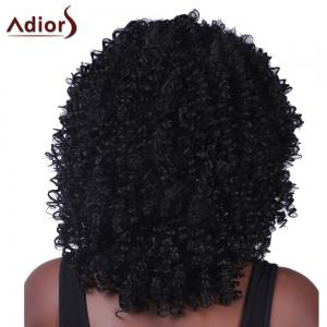 Fluffy Medium Afro Curly Synthetic Vogue Black Capless Adiors Wig For Women - BLACK