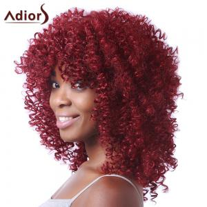 Trendy Red Medium Synthetic Fluffy Afro Curly Capless Wig For Women -