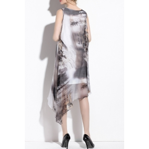Scoop Neck Silk Printed Asymmetrical Dress -
