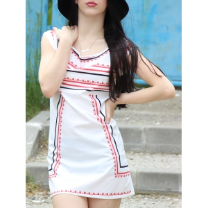 Attractive Color Block Striped Sleeveless Straight Dress For Women - White - S