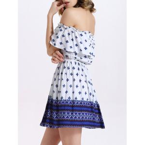 Stylish Off-The-Shoulder Tribal Print Women's Dress - BLUE M