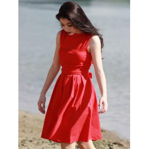 Vintage Boat Neck Sleeveless Solid Color Self-Tie Women's Dress -